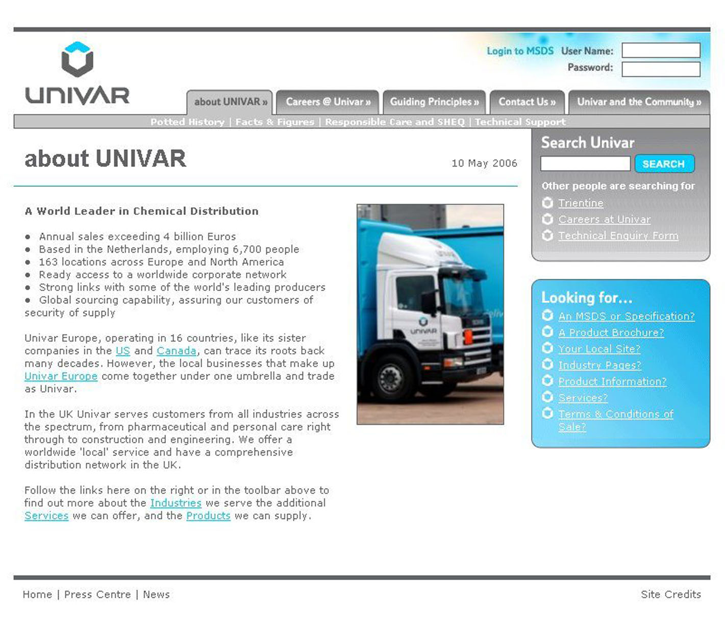 Upgraded website offers easy access to Univar's breadth and
