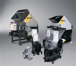 Specifically designed for beside-the-press grinding of hard and brittle materials, the 100-Series slow speed, screenless granulators feature Rapid's patented Integrated Metal Detection technology (IMD). (Photo: Rapid Granulator AB)