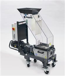 Specifically designed for beside-the-press grinding of hard and brittle materials, the RG-Series slow speed, screenless granulators feature Rapid's patented Integrated Metal Detection technology (IMD). (Photo: Rapid Granulator AB)
