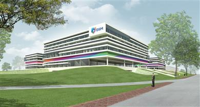 DSM's commitment to exploitation of innovative and sustainable high performance materials is evidenced in its investment in a materials sciences research building on the Chemelot Campus in Sittard-Geleen, the Netherlands.  (Photo: DSM Engineering Plastics: DSMPR434)