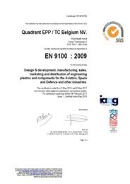 Certificates Quadrant EPP/TC Belgium NV. and Quadrant EPP UK Ltd AS9100-2009.