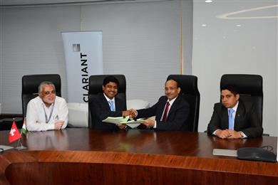 (From L-R) <b>Jim Easow</b>, Head – Legal Services & Regional Compliance Officer, Clariant Chemicals (India) Ltd, <b>Neelanjan Banerjee</b>, Senior Vice President, BU – AII and Senior Executive Director, Lanxess India, <b>B.L. Gaggar</b>, Executive Director (Finance) & Company Secretary, Clariant Chemicals (India) Ltd, and <b>Sambit Roy</b>, Regional Director – Marketing and Sales (Pigments), Clariant in India, at the signing ceremony held at Clariant in India HQ, Airoli.<br> (Photo: Clariant)
