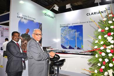 R. Kumaresan (Head – Industrial and Consumer Specialties, Clariant in India) and Dr Dev Mohan Mohunta (CEO, Commercial Chemical Development Company) inaugurating the stall at ChemProTech India 2015.<br> (Photo: Clariant)