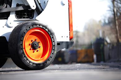 The Brawler HPS Solidflex from Trelleborg Wheel Systems' solid range, also shown at Intermat. 