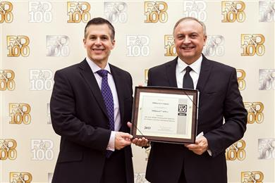 Milliken's Dominick Valenti, global R&D director, Performance Colorants and Ingredients, and Mark Ragsdale, senior scientist, received the prestigious R&D 100 Awards on behalf of Milliken & Company. (Photo © 2016 Milliken & Company, all rights reserved, MKPR140)