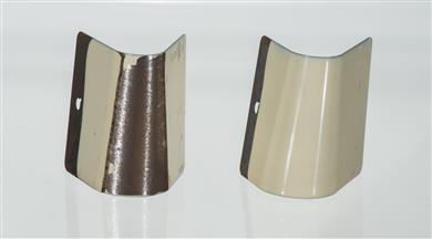 Mandrel Bend Test Comparison After Five Days at 120 C Showing that the Control Sample (left) Cracked and Delaminated, While the SiVance C2010 Resin Sample (right) Passed. (Photo © 2016 Milliken & Company, all rights reserved, MKPR158)