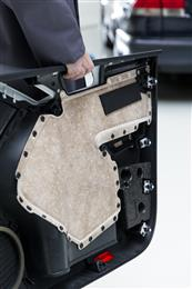 Fibres for lightweight automotive composites such as door panels.