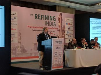 Dr. Werner Reimann, Global Marketing Manager, Clariant Refinery Services, talking about Processing Waxy Opportunity Crudes at 5th Refining India Conference in Delhi, India. (Photo: Clariant)