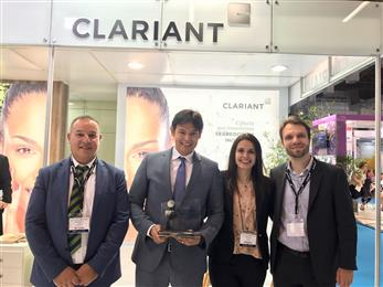 Clariant wins ITEHPEC Innovation Award at in-cosmetics Latin America 2017. <br>(Photos: Clariant)