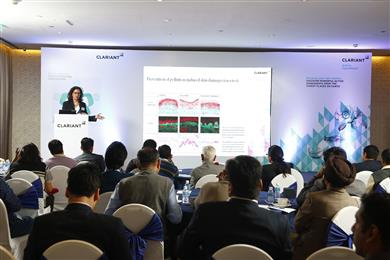 Christelle Graizeau, Business Development Manager, Active Ingredients Segment, BU Industrial & Consumer Specialties presented a paper on 'Let's get active naturally...our green actives'. <br>(Photo: Clariant)