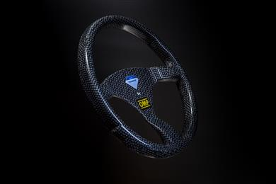 OMP Racing steering wheel with Dyneema® Carbon; increased impact resistance and driver safety.