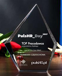 Award TOP employer in Silesia for Guardian Częstochowa.