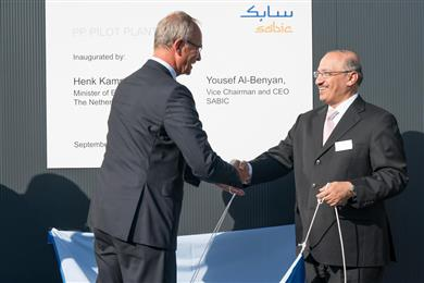 SABIC's new pilot plant in Geleen, The Netherlands, for development and production of advanced grades of polypropylene, was inaugurated by SABIC CEO Yousef Abdullah Al-Benyan and Dutch Minister of Economic Affairs Henk Kamp on September 12.