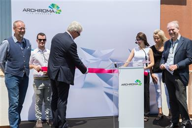 Archroma's CEO Alexander Wessels (3rd from left) inaugurates the new Global Competence Center for Whiteness in Prat, near Barcelona, Spain, on July 5, 2018, together with OBA specialist team (left to right) David Atkinson, Gabriel Martinez, Edna Trullas, Fabienne Schneider and Andrew Jackson. (Photo: Archroma)