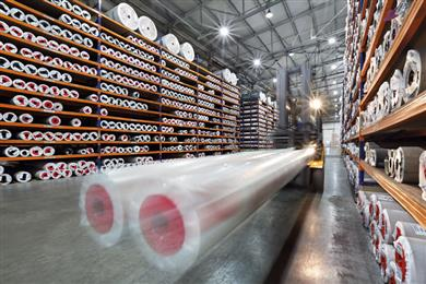 Caption: JUTEKS Vinyl Rolls warehouse in Russia.