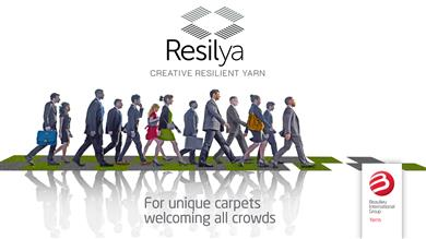 Resilya new durable, resilient and creative yarn family for a longer life cycle for contract carpet constructions (Class 33).  (Photo: © Beaulieu International Group)