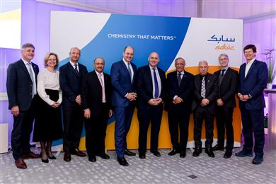 SABIC Chairman, Dr. Abdulaziz Al-Jarbou, and Vice Chairman & CEO Yousef Al-Benyan, with representatives from customers Unilever and Vinventions, and supplier PLASTIC ENERGY at last night's event to announce the launch of SABIC's certified circular polymers.