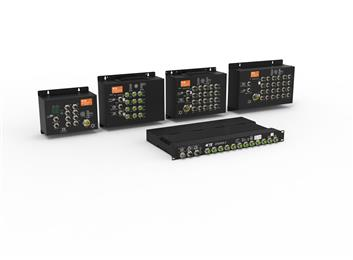 TE Connectivity introduces new industrial managed M12-based Ethernet switches for rail applications. (Source: TE Connectivity, PR385)