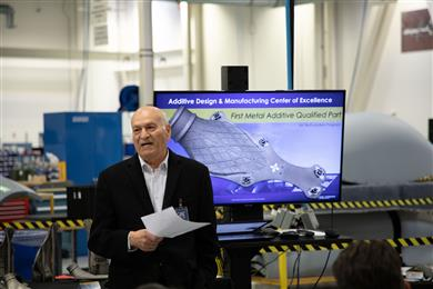 Elie Yehezkel, Senior Vice President of GA-ASI's Advanced Manufacturing Technologies attends an executive review in December 2019. 
