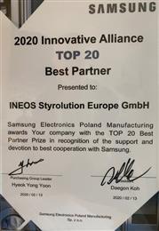 INEOS Styrolution receives best partner supply award 2020 from Samsung.