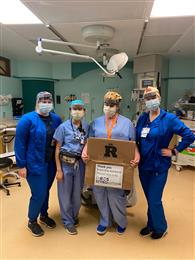 Photo: Edward Hospital emergency room nurses receive INEOS Styrolution face shield delivery, Naperville, Illinois.