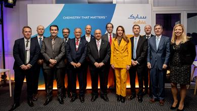 SABIC Chairman, Dr. Abdulaziz Al-Jarbou, and Vice Chairman & CEO Yousef Al-Benyan, with representatives from Tupperware Brands, Vinventions, Coveris, Plastic Energy, Haldor Topsøe and Renewi at last night's event to reveal plans for TRUCIRCLE™ solutions to close the plastics loop in 2020.