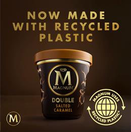 Magnum launches new tubs made using certified circular polypropylene from SABIC's TRUCIRCLE™ portfolio.
