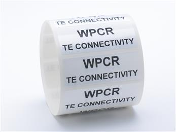 TE Connectivity's white polyester chemical resistant labels withstand chemicals in harsh environments. (Source: TE Connectivity, PR417)