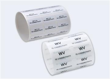 White vinyl labels from TE Connectivity are ideal for conformability on irregular surfaces. 