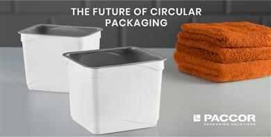 Containers including 37% of recycled PP from households' waste. 