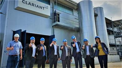 Pertamina's project team visiting Clariant's pre-commercial sunliquid® plant in Straubing, Germany at the end of 2019.  (Photo: Clariant)