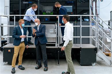 Andrea Scanavini, general manager BEAMIT (back right) visits GE Additive Lichtenfels with Avio Aero's Dario Mantegazza (front right) and Dario Mula (front left) – September 2021.  (Image credit: Wilm Visuals for GE Additive, GEADPR052)